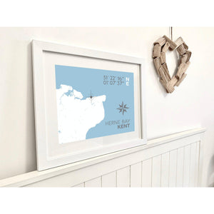 Herne Bay Map Travel Print - Coastal Wall Art /Poster-SeaKisses