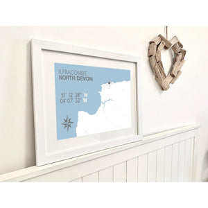 Ilfracombe Map Travel Print- Coastal Wall Art /Poster-SeaKisses