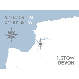 Instow Map Travel Print- Coastal Wall Art /Poster-SeaKisses