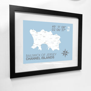Jersey Map Travel Print- Coastal Wall Art /Poster-SeaKisses