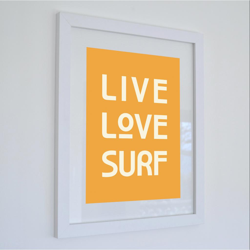 Live Love Surf - Typographic Travel Print - Coastal Wall Art - Poster-SeaKisses