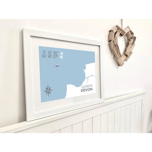 Lundy Map Travel Print- Coastal Wall Art /Poster-SeaKisses