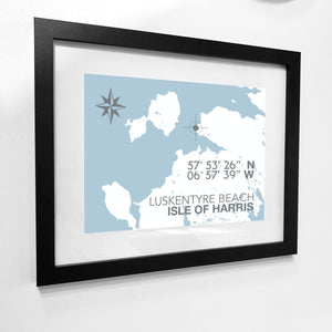 Luskentyre Beach, Isle of Harris Map Travel Print- Coastal Wall Art /Poster-SeaKisses