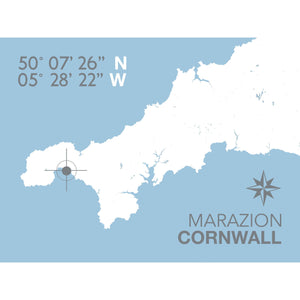 Marazion Map Travel Print- Coastal Wall Art /Poster-SeaKisses