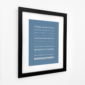 Mawgan Porth Typographic Travel Print- Coastal Wall Art /Poster-SeaKisses