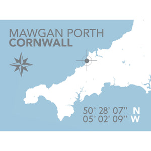 Mawgan Porth Map Travel Print- Coastal Wall Art /Poster-SeaKisses