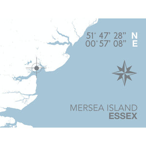 Mersea Island Map Travel Print- Coastal Wall Art /Poster-SeaKisses