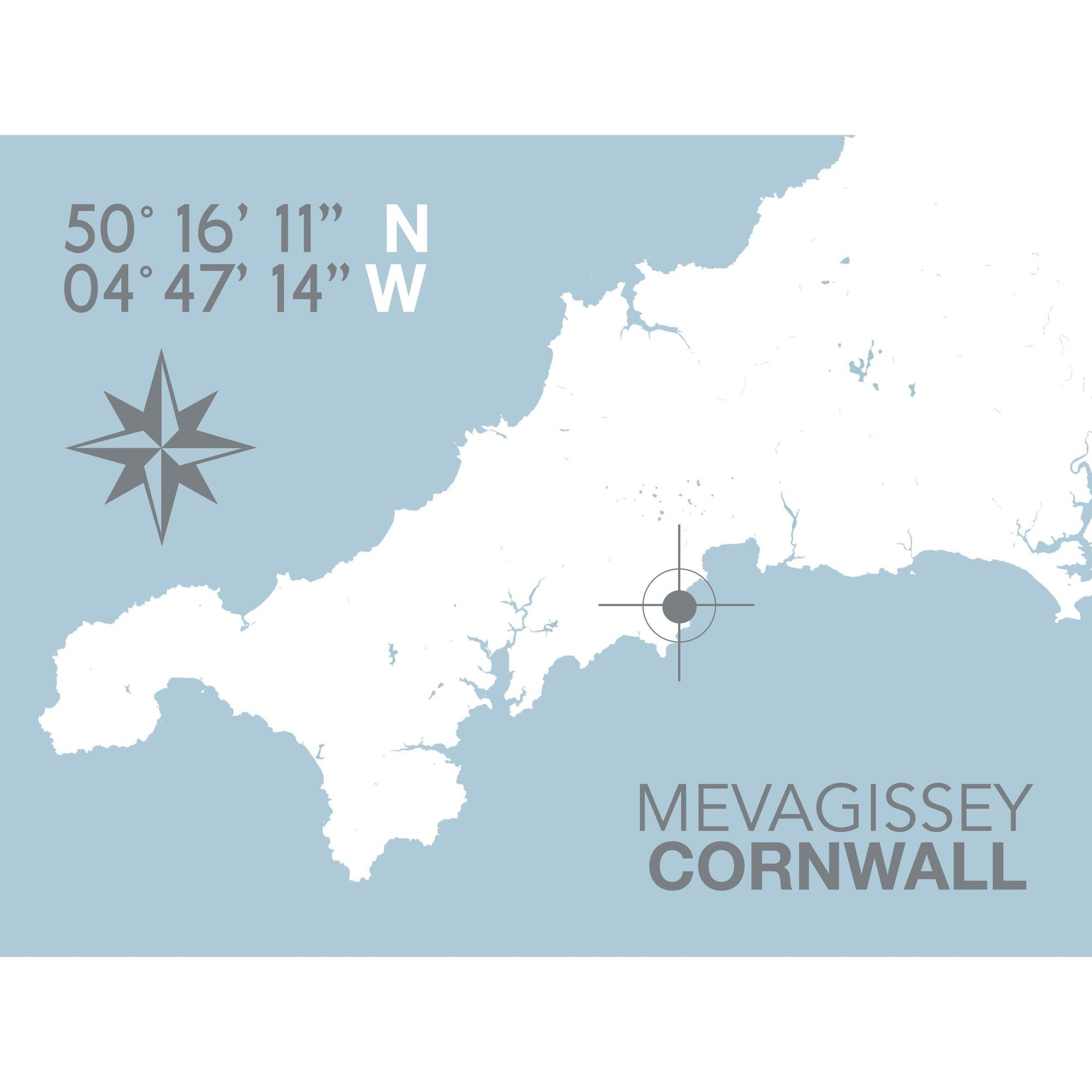 Mevagissey Typographic Travel Print- Coastal Wall Art /Poster-SeaKisses