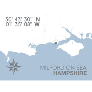 Milford-on-Sea Map Travel Print- Coastal Wall Art /Poster-SeaKisses