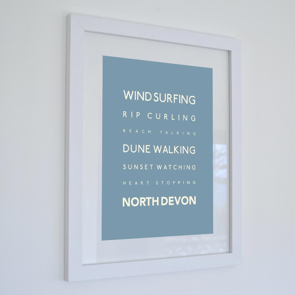 North Devon Typographic Travel print- Coastal Wall Art /Poster-SeaKisses