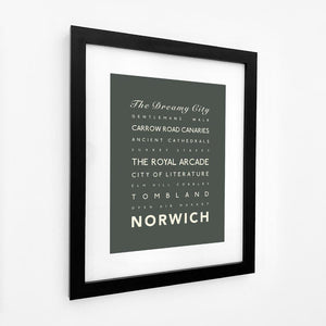Norwich Typographic Travel Print- Coastal Wall Art /Poster-SeaKisses