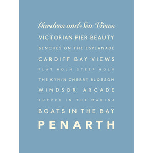 Penarth Typographic Seaside Print - Coastal Wall Art /Poster-SeaKisses