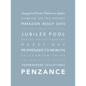 Penzance Typographic Travel Print- Coastal Wall Art /Poster-SeaKisses
