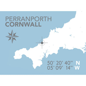 Perranporth Map Travel Print- Coastal Wall Art /Poster-SeaKisses