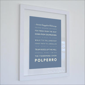 Polperro Typographic Travel Print- Coastal Wall Art /Poster-SeaKisses