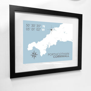Porthcothan Map Travel Print- Coastal Wall Art /Poster-SeaKisses