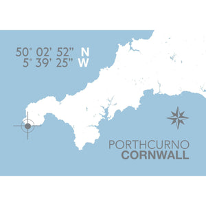 Porthcurno Map Travel Print- Coastal Wall Art /Poster-SeaKisses