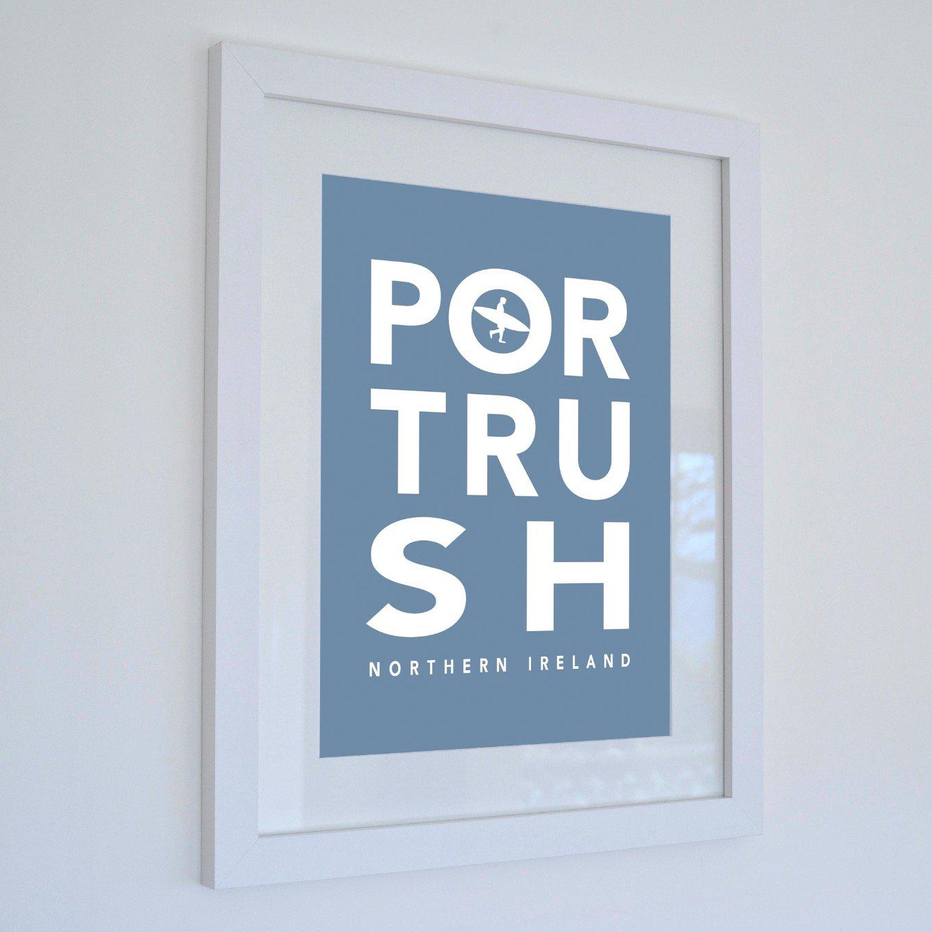 Portrush Surf Typographic Seaside Wall Art /Poster-SeaKisses