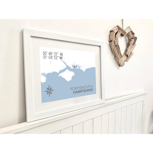 Portsmouth Map Travel Print- Coastal Wall Art /Poster-SeaKisses