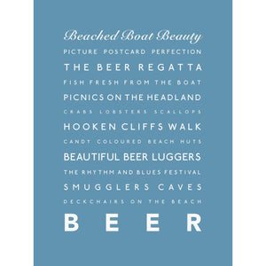 Beer Typographic Travel Print- Coastal Wall Art /Poster-SeaKisses