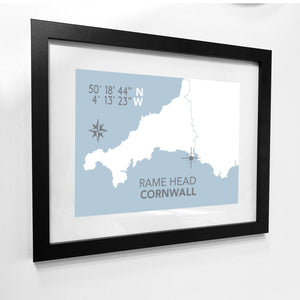 Rame Head Map Print- Coastal Wall Art /Poster-SeaKisses