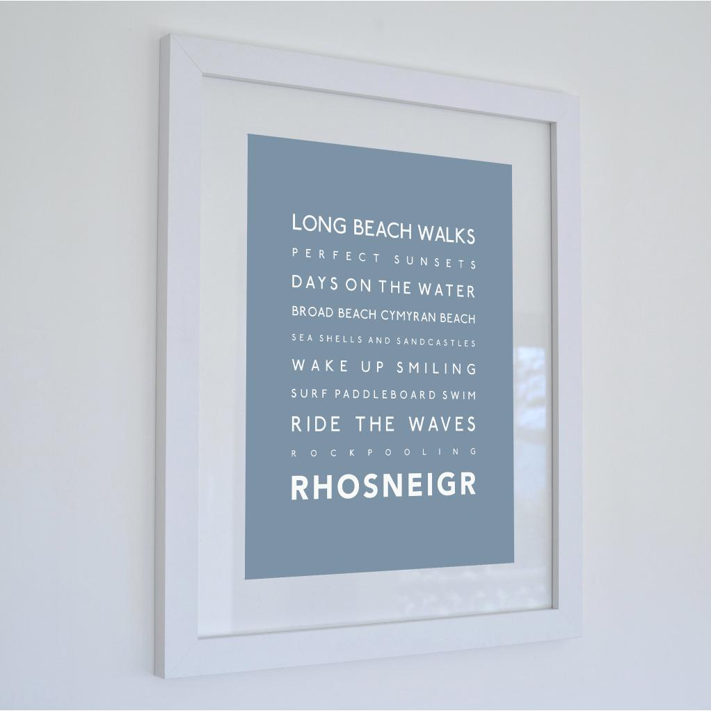Rhosneigr Typographic Travel Print- Coastal Wall Art /Poster-SeaKisses