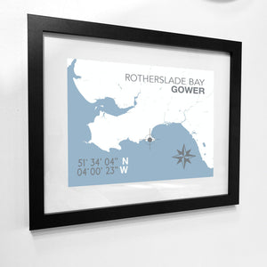 Rotherslade Bay Map Seaside Print - Coastal Wall Art /Poster-SeaKisses