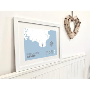 Salcombe Map Travel Print- Coastal Wall Art /Poster-SeaKisses
