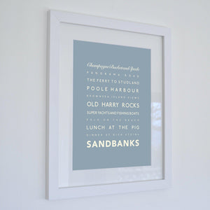 Sandbanks Typographic Travel Print- Coastal Wall Art /Poster-SeaKisses