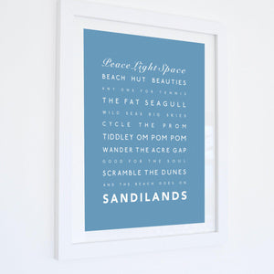 Sandilands Typographic Travel Print- Coastal Wall Art /Poster-SeaKisses