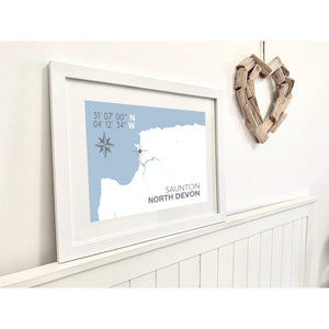 Saunton Map Travel Print- Coastal Wall Art /Poster-SeaKisses