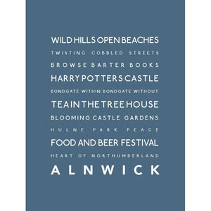 Alnwick Typographic Travel Print- Coastal Wall Art /Poster-SeaKisses