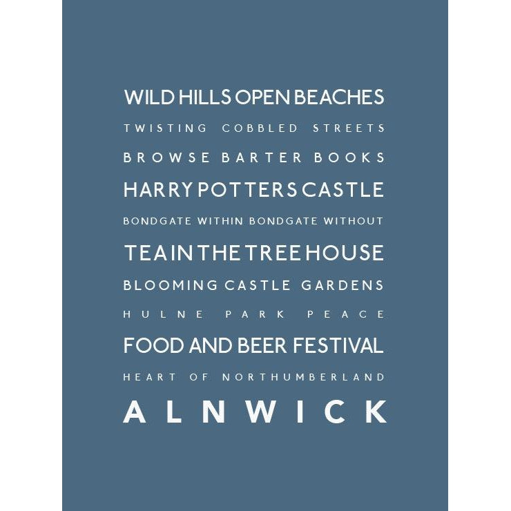 Alnwick Typographic Travel Print/Poster Coastal Wall Art by SeaKisses