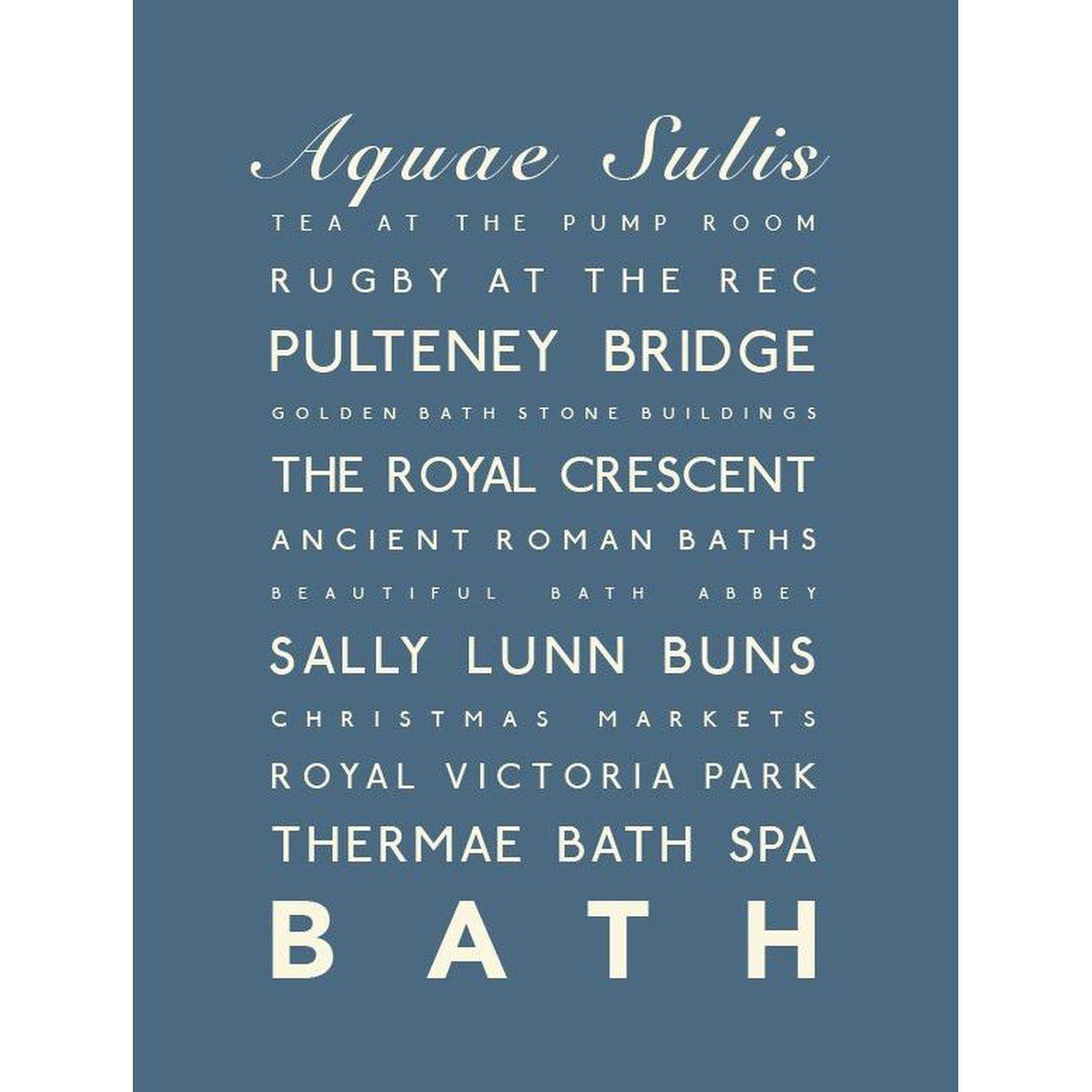 Bath Typographic Travel Print - Coastal Wall Art-SeaKisses
