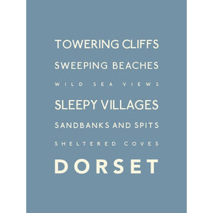 Dorset Typographic Travel Print/Poster Seaside Art by SeaKisses
