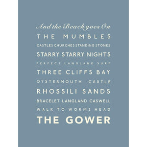 The Gower Typographic Travel Print- Coastal Wall Art-SeaKisses