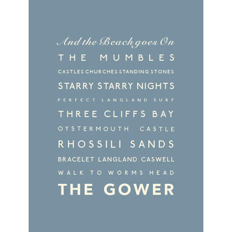 The Gower Typographic Travel Print- Coastal Wall Art