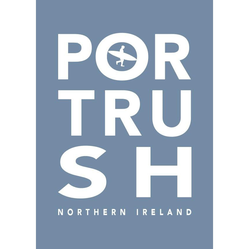 Portrush Surf Typographic Seaside Wall Art