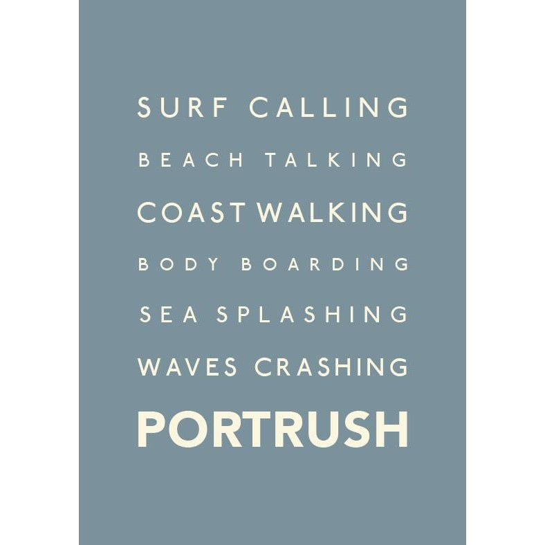 Portrush Typographic Travel Print- Coastal Wall Art