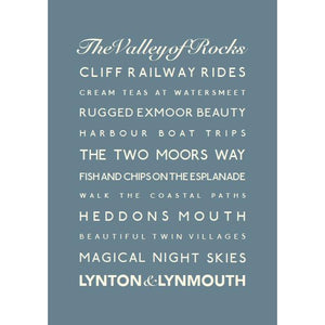 Lynton & Lynmouth Typographic Travel Print- Coastal Wall Art /Poster-SeaKisses