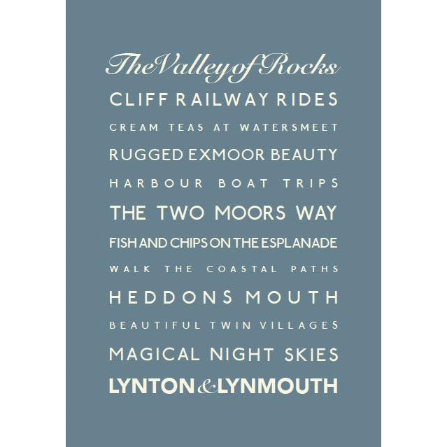 Lynton Lynmouth Typographic Travel Print/Poster Seaside Art by SeaKisses