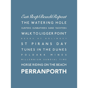 Perranporth Typographic Travel Print/Poster Seaside Art by SeaKisses