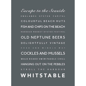 Whitstable Typographic Travel Print - Coastal Wall Art /Poster-SeaKisses