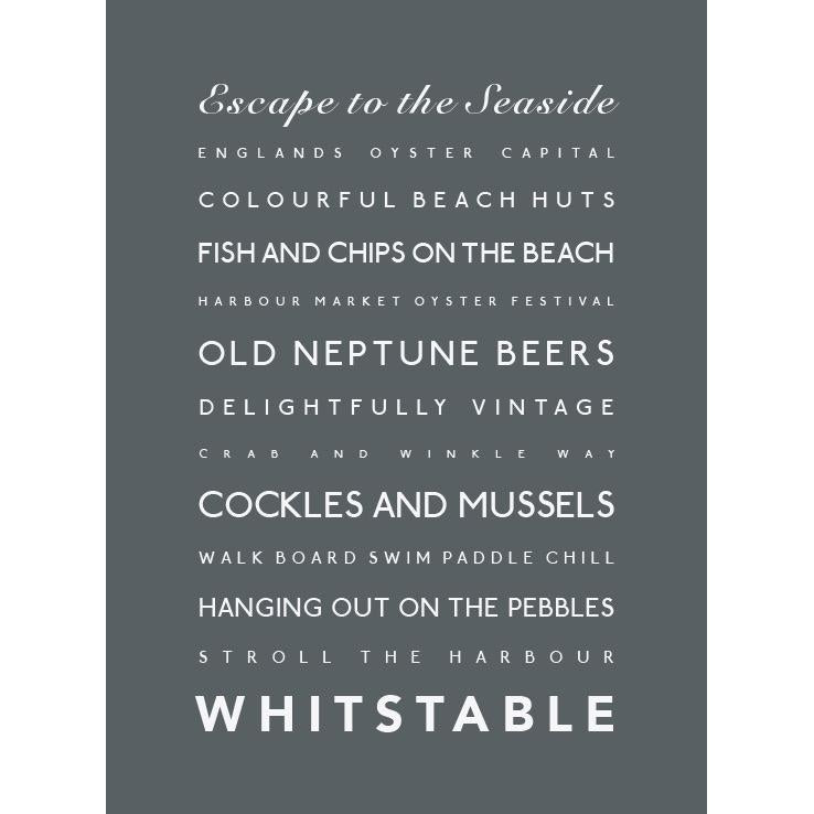 Whitstable Typographic Travel and Seaside Print by SeaKisses