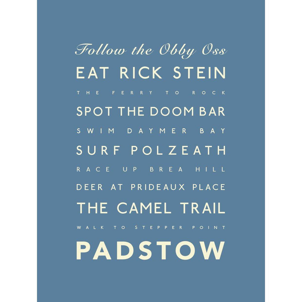 Padstow Typographic Travel print- Coastal Wall Art-SeaKisses