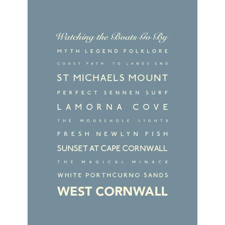 West Cornwall Typographic Travel Print- Coastal Wall Art-SeaKisses