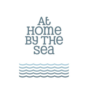 At Home By The Sea Typographic Travel Print Coastal Wall Art By SeaKisses