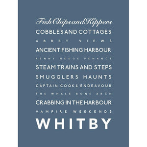 Whitby Typographic Seaside Print - Coastal Wall Art /Poster-SeaKisses