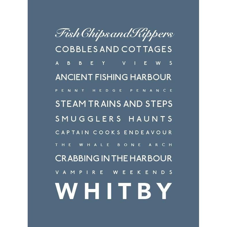 Whitby Typographic Seaside Print - Coastal Wall Art-SeaKisses