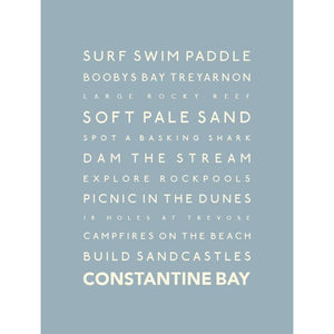 Constantine Bay Typographic Seaside Print - Coastal Wall Art /Poster-SeaKisses